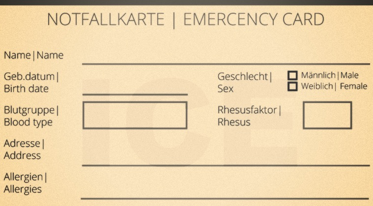 Notfallkarte Auto Wohnwagen Wohnmobil Post