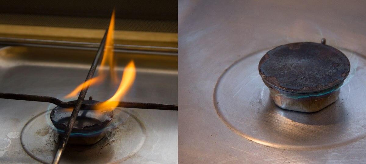 Vorher und nachher. Jetzt brennt das Gas wieder ohne zu rußen ab.