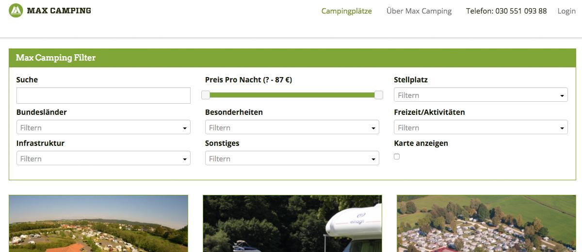 Campingplatz Buchungsportal Maxcamping