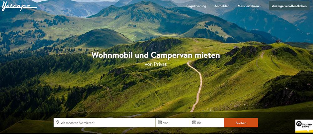 Yescapa Buchungsplattform - Wohnmobile privat mieten
