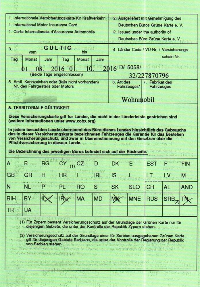 grüne versicherungskarte