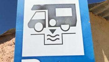 Ver- und Entsorgungsstationen (V/E) sind an diesem Symbol zu erkennen.