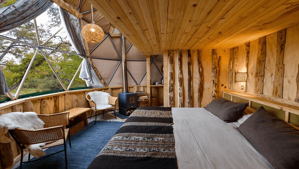 Ein Zimmer im Eco Camp in Patagonien tolles Luxus Glamping