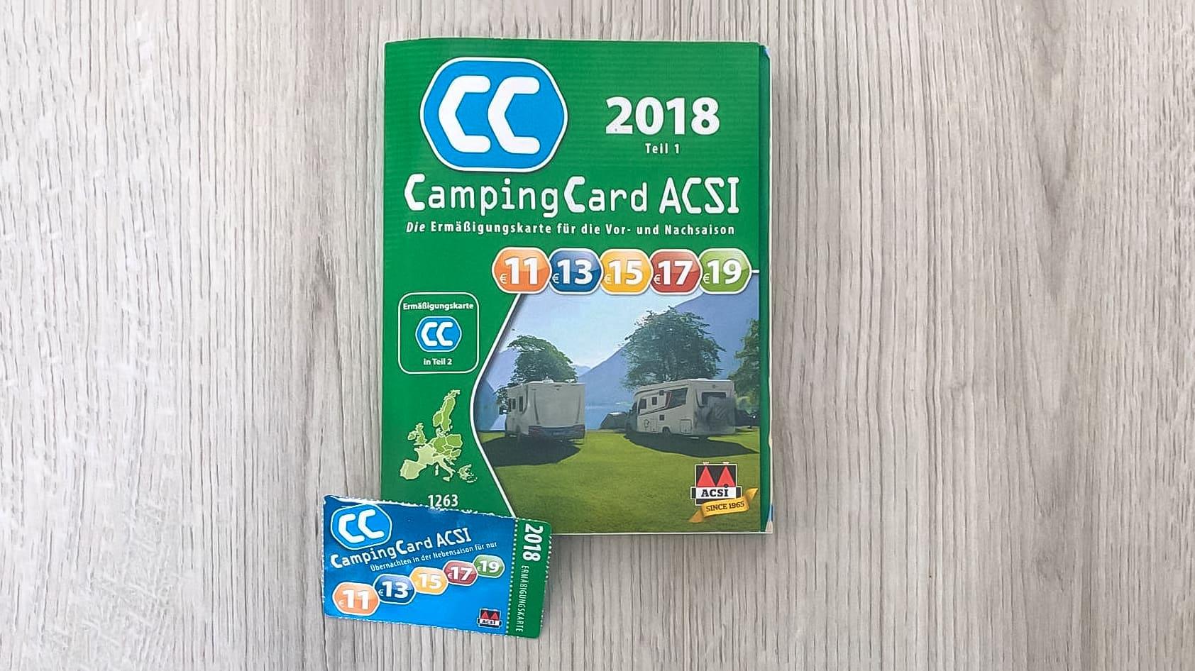 Die ACSI Card 2018 und das Buch mit teilnehmenden Campingplaetzen