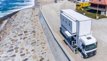 Das Truck Surf Hotel von oben