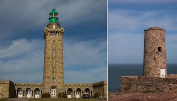 Ein Turm und Leuchtturm am Cap Fréhel in der Bretagne
