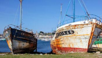 Schiffswracks im Hafen von Camaret in der Bretagne Foto Donatienne Guillaudeau
