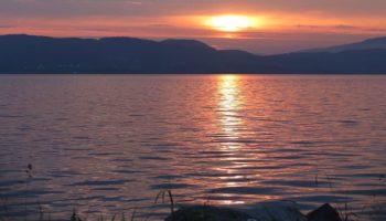 Blick auf den Sonnenuntergang beim Camping Reiseziel Norwegen