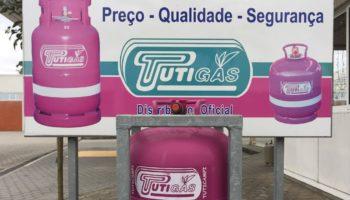 Eine Werbung von Tuti Gasflaschen in Portugal