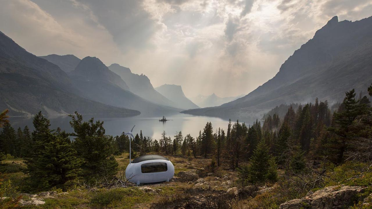 Ecocapsule in der Landschaft