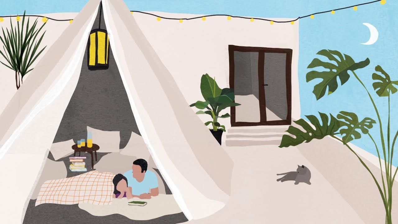 Mikro-Camping im Garten/Zuhause