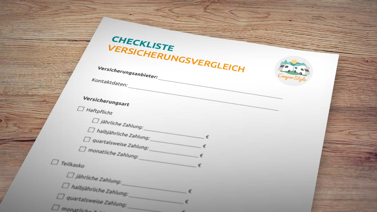 Versicherungsvergleich Wohnmobil - Infos und Checkliste