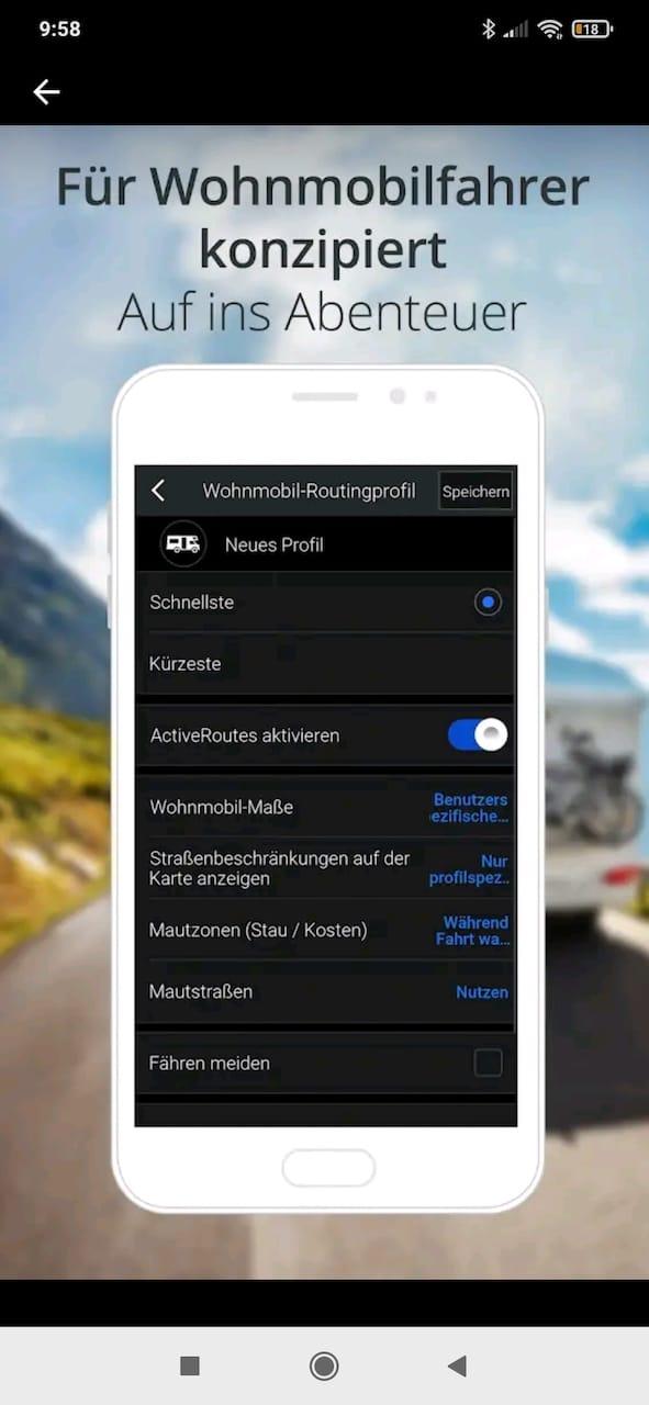 Screenshot von Copilot GPS zur Navigation von Wohnmobilen und Wohnwagen