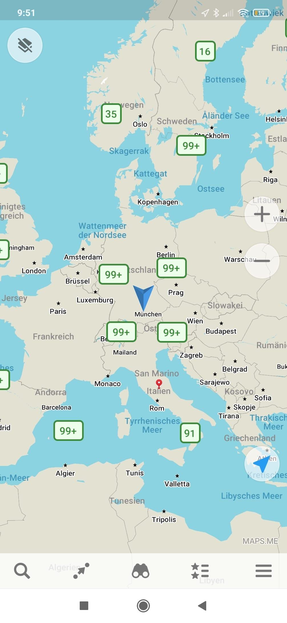 Screenshot von Maps.Me zur Navigation von Wohnmobilen und Wohnwagen